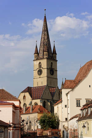 Evangelical Cathedral Sibiu Romania tower on blue sky medieval architecture