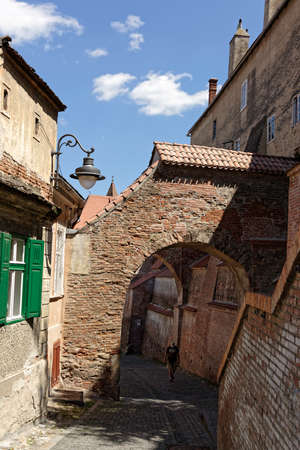 Old Town Sibiu Romania Stairs Passage near Evangelichal Cathedral