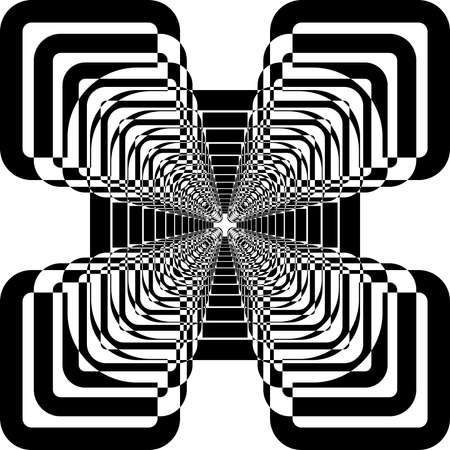 alternate: Abstract arabesque perspective rounded square alternate black on transparent background