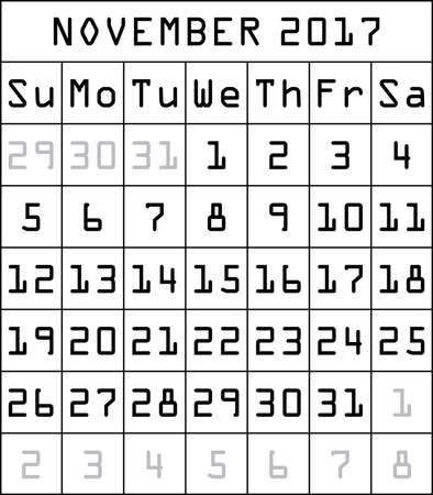 2017 calendar black on white month of november vector