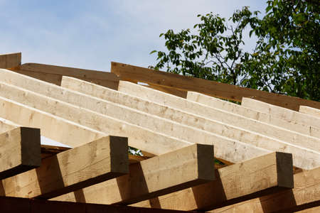 Roof carpentry in plain sun