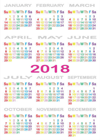 Calendar 2018 separated on white background with specific color for each day of the week.