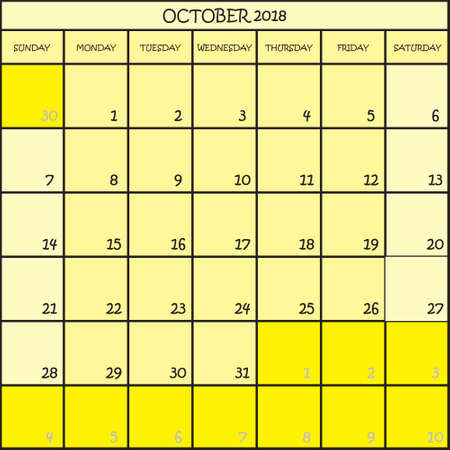 CALENDAR PLANNER OCTOBER 2018 ON THREE SHADES OF YELLOW COLOR BACKGROUND