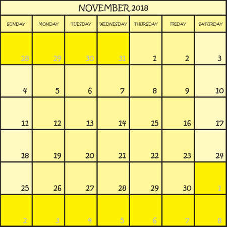 CALENDAR PLANNER MONTH NOVEMBER 2018 ON THREE SHADES OF YELLOW COLOR BACKGROUND  Illustration