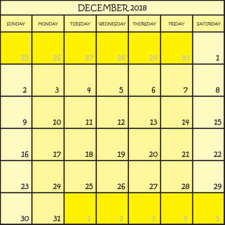 CALENDAR PLANNER MONTH DECEMBER 2018 ON THREE SHADES OF YELLOW COLOR BACKGROUND  Illustration