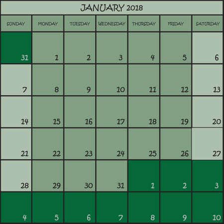 CALENDAR PLANNER JANUARY 2018 ON THREE SHADES OF GREEN COLOR BACKGROUND  Illustration