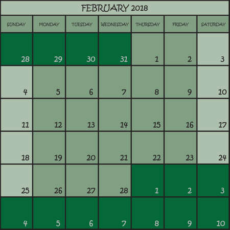 CALENDAR PLANNER MONTH FEBRUARY 2018 ON THREE SHADES OF GREEN COLOR BACKGROUND  Illustration