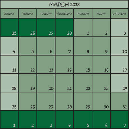 CALENDAR PLANNER MONTH MARCH 2018 ON THREE SHADES OF GREEN COLOR BACKGROUND