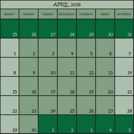 CALENDAR PLANNER MONTH APRIL 2018 ON THREE SHADES OF GREEN COLOR BACKGROUND  Illustration