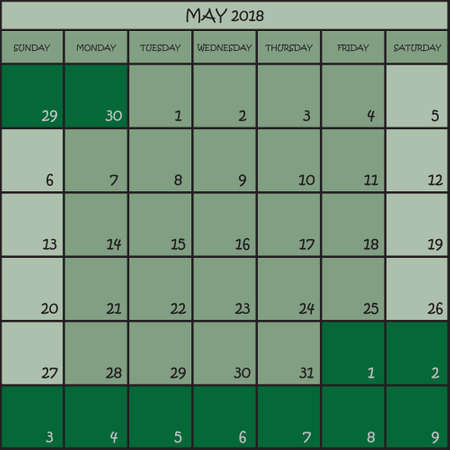 CALENDAR PLANNER MONTH MAY 2018 ON THREE SHADES OF GREEN COLOR BACKGROUND