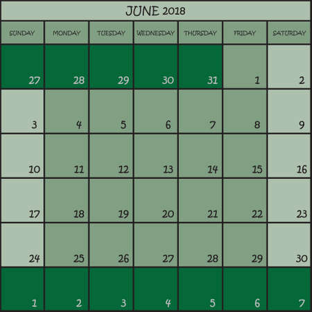 CALENDAR PLANNER MONTH JUNE 2018 ON THREE SHADES OF GREEN COLOR BACKGROUND