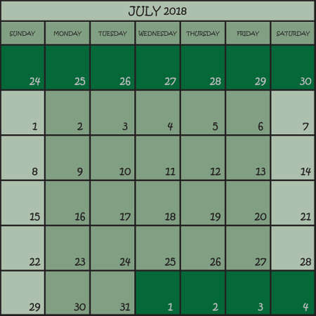 CALENDAR PLANNER MONTH JULY 2018 ON THREE SHADES OF GREEN COLOR BACKGROUND