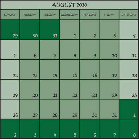 CALENDAR PLANNER MONTH AUGUST 2018 ON THREE SHADES OF GREEN COLOR BACKGROUND