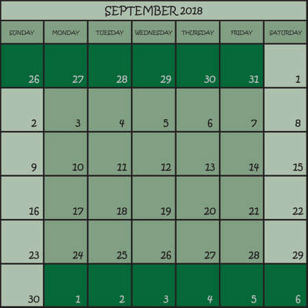 CALENDAR PLANNER MONTH SEPTEMBER 2018 ON THREE SHADES OF GREEN COLOR BACKGROUND