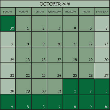 CALENDAR PLANNER OCTOBER 2018 ON THREE SHADES OF GREEN COLOR BACKGROUND