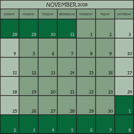 CALENDAR PLANNER MONTH NOVEMBER 2018 ON THREE SHADES OF GREEN COLOR BACKGROUND