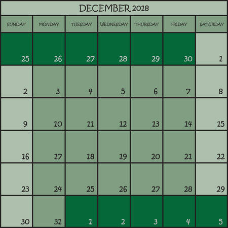 CALENDAR PLANNER MONTH DECEMBER 2018 ON THREE SHADES OF GREEN COLOR BACKGROUND  Illustration