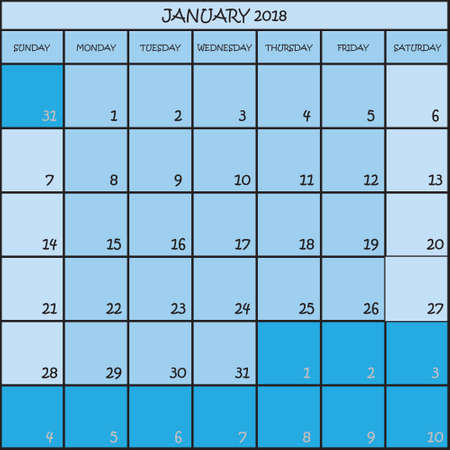 CALENDAR PLANNER JANUARY 2018 ON THREE SHADES OF BLUE COLOR BACKGROUND
