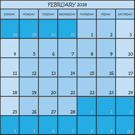 CALENDAR PLANNER MONTH FEBRUARY 2018 ON THREE SHADES OF BLUE COLOR BACKGROUND  Illustration