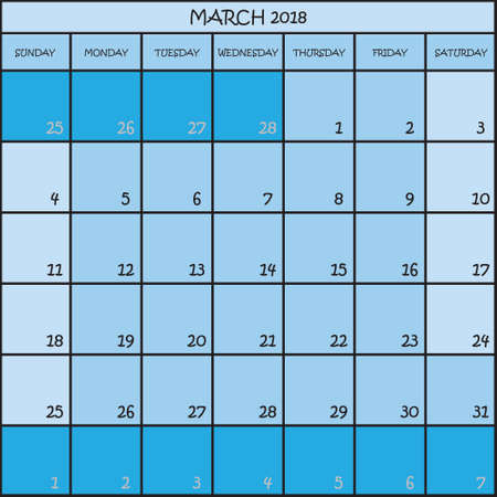 CALENDAR PLANNER MONTH MARCH 2018 ON THREE SHADES OF BLUE COLOR BACKGROUND