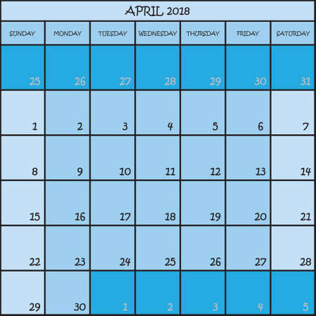 CALENDAR PLANNER MONTH APRIL 2018 ON THREE SHADES OF BLUE COLOR BACKGROUND