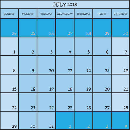 CALENDAR PLANNER MONTH JULY 2018 ON THREE SHADES OF BLUE COLOR BACKGROUND