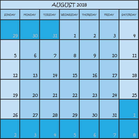 Calendar planner month of August 2018 on three shades of blue color background. Illustration