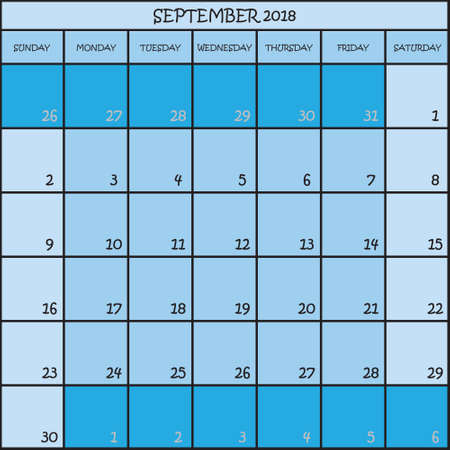 CALENDAR PLANNER MONTH SEPTEMBER 2018 ON THREE SHADES OF BLUE COLOR BACKGROUND