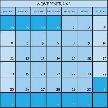 CALENDAR PLANNER MONTH NOVEMBER 2018 ON THREE SHADES OF BLUE COLOR BACKGROUND