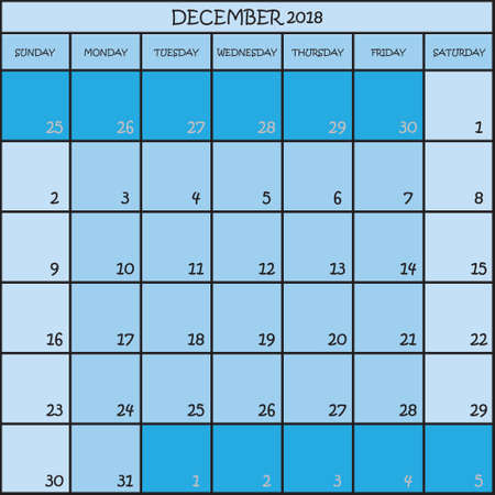 CALENDAR PLANNER MONTH DECEMBER 2018 ON THREE SHADES OF BLUE COLOR BACKGROUND