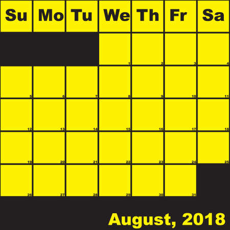 2018 August yellow on black planner calendar with huge space for notes