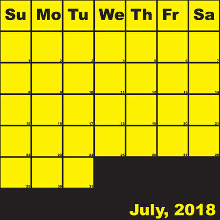 2018 July yellow on black planner calendar with huge space for notes Illustration