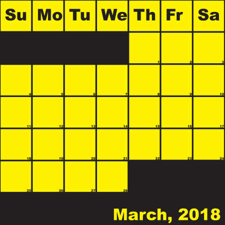2018 March yellow on black planner calendar with huge space for notes Illustration