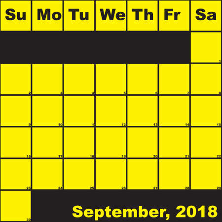 2018 September yellow on black planner calendar with huge space for notes