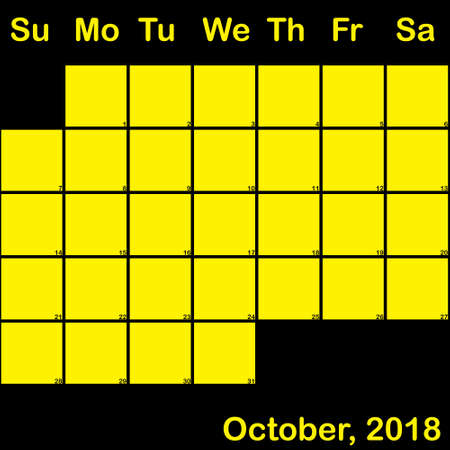2018 October yellow on black planner calendar with huge space for notes