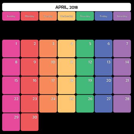 April 2018 colorful calendar planner design