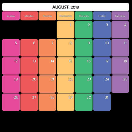 August 2018 colorful calendar planner design Illustration
