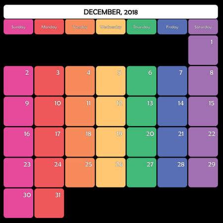 December 2018 colorful calendar planner design