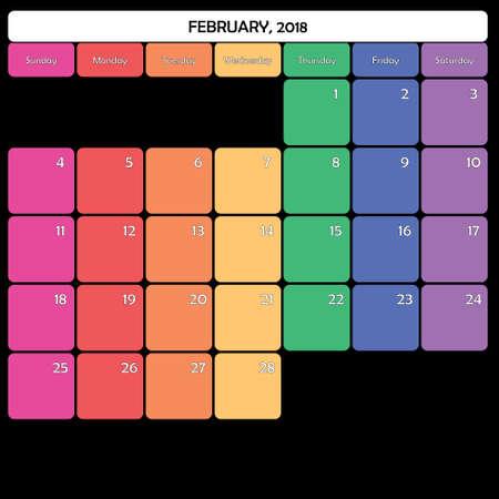 February 2018 colorful calendar planner design