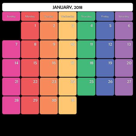 January 2018 colorful calendar planner design
