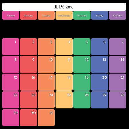 July 2018 colorful calendar planner design Illustration