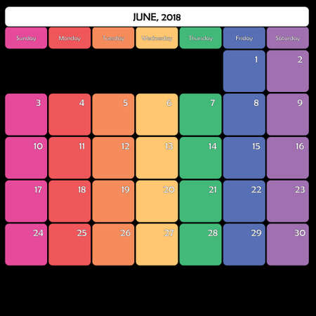 June 2018 colorful calendar planner design