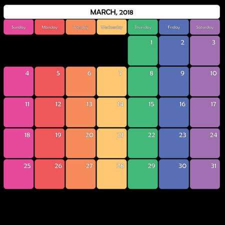 March 2018 colorful calendar planner design