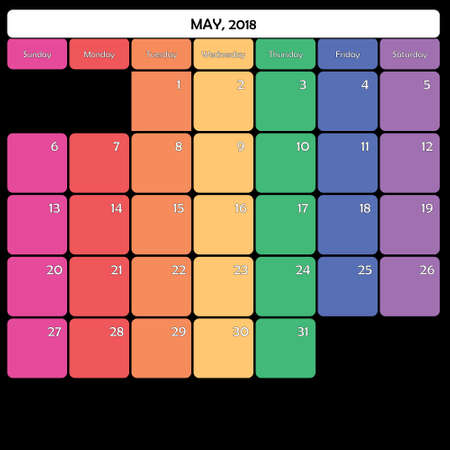 May 2018 colorful calendar planner design