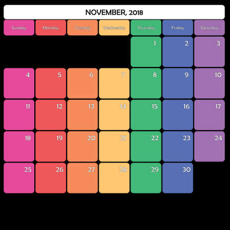 November 2018 colorful calendar planner design