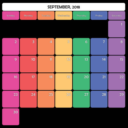 September 2018 colorful calendar planner design