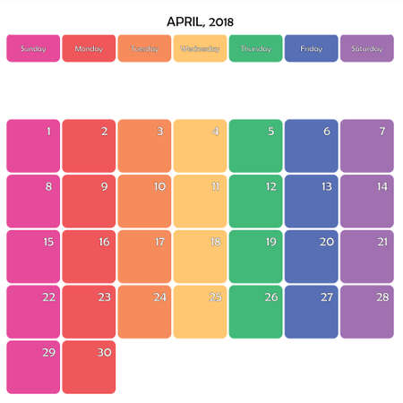 April 2018 Planner Calendar big editable note space specific color day on white background