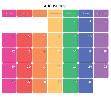 August 2018 Planner Calendar big editable note space specific color day on white background