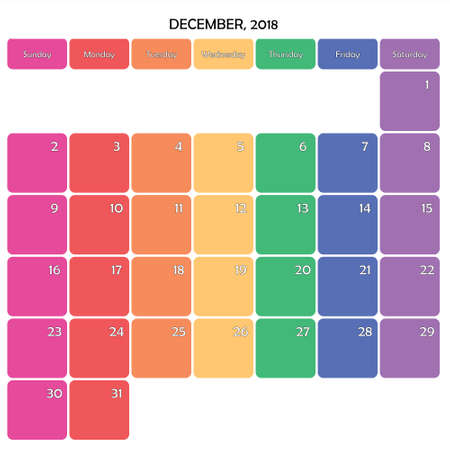 December 2018 planner calendar big editable note. Space specific color day on white background. Illustration