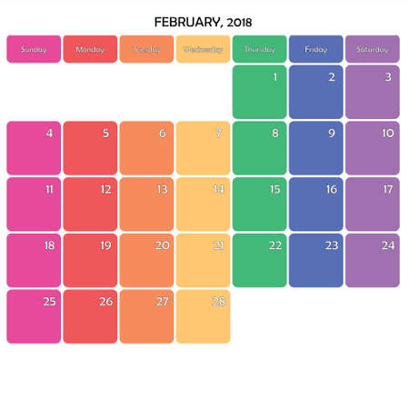 February 2018 Planner Calendar big editable note space specific color day on white background Illustration